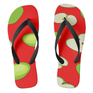 Apple fruit pattern flip flops