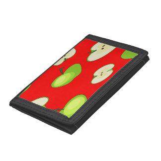 Apple fruit pattern tri-fold wallets