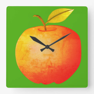 Apple Fruit Red Vibrant Cartoon Artistic Stylish Square Wall Clock