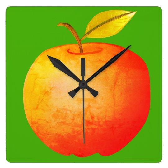 Apple Fruit Red Vibrant Cartoon Artistic Stylish Square