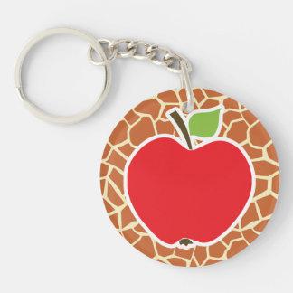 Apple; Giraffe; Animal Print Double-Sided Round Acrylic Key Ring