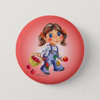 APPLE GIRL by SHARON SHARPE 6 Cm Round Badge