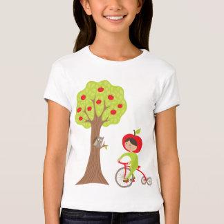 Apple Girl on a Bike with an Owl by an Apple Tree Shirt