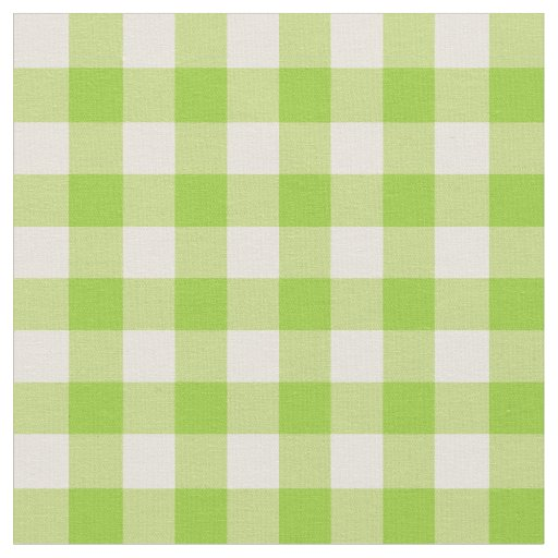 Apple Green and Antique White Gingham Fabric