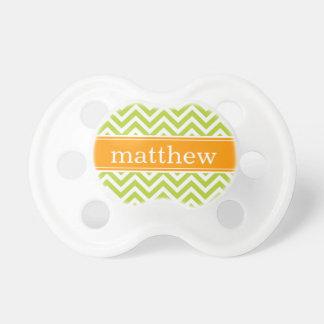 Apple Green and Orange Chevron Monogram Baby Pacifier