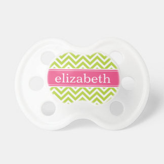 Apple Green and Pink Chevron Monogram Pacifier