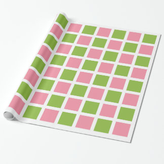 Apple Green and Salmon Pink Squares Wrapping Paper