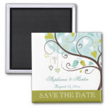 Apple green and soft blue love birds save the date square magnet