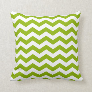 Apple Green and White Zigzag Cushion