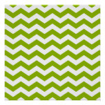 Apple Green and White Zigzag Poster
