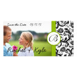 Apple Green Black Damask Save the Date Your Photo Customised Photo Card
