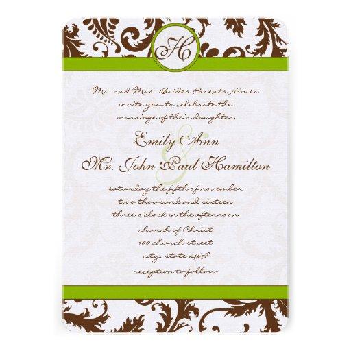Apple Green & Brown Damask Wedding Invitation