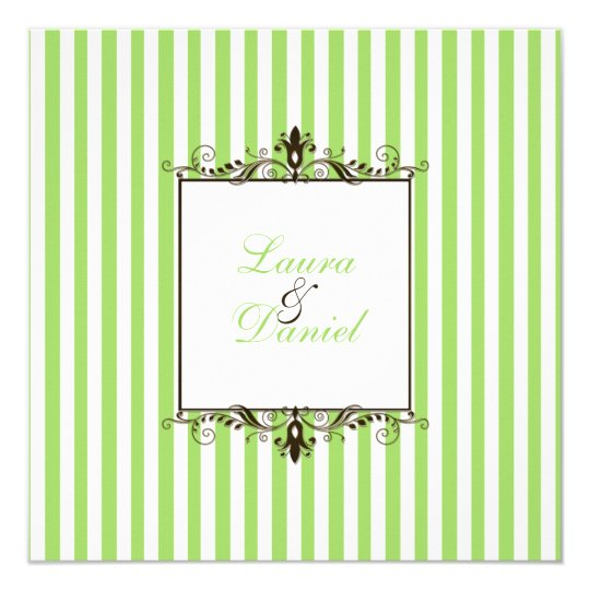 Apple Green, Brown, White Stripes Scrolls Invite