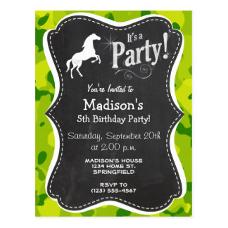 Apple Green Camo Horse Equestrian Post Card