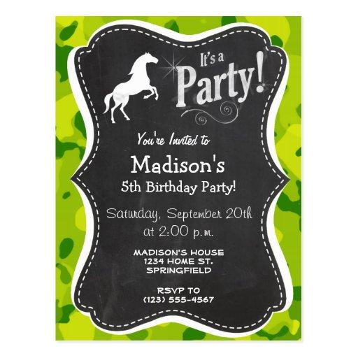 Apple Green Camo; Horse, Equestrian Post Card