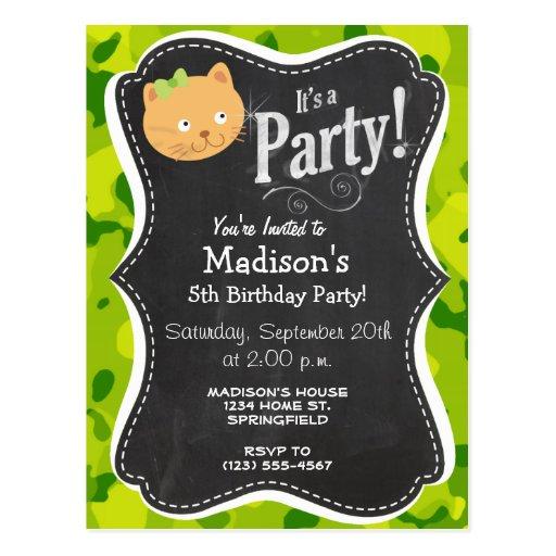 Apple Green Camo; Kitten Postcard