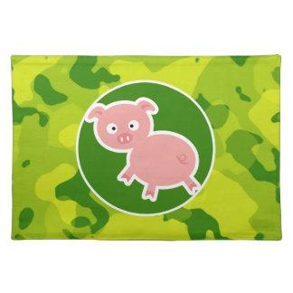 Apple Green Camo; Pig Placemat
