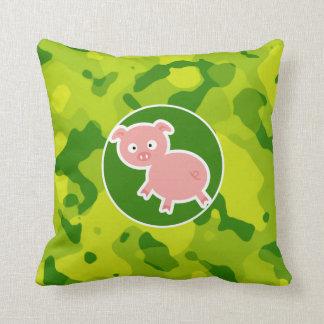 Apple Green Camo; Pig Cushion