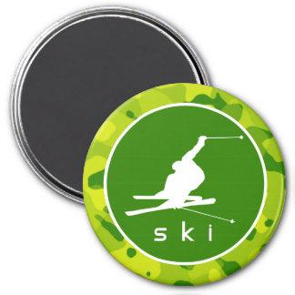 Apple Green Camo; Snow Ski 7.5 Cm Round Magnet