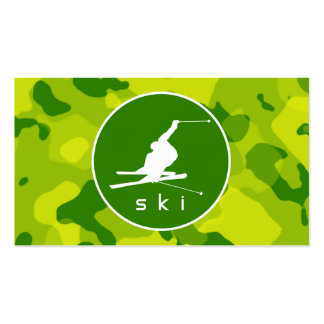 Apple Green Camo; Snow Ski Pack Of Standard Business Cards