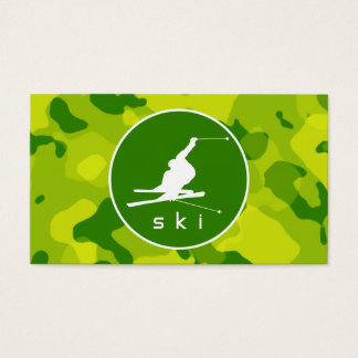Apple Green Camo; Snow Ski Business Card