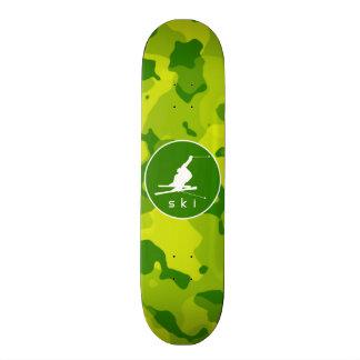 Apple Green Camo Snow Ski Skate Deck