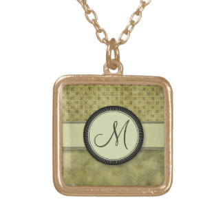 Apple Green Coin Pattern with Monogram Pendant