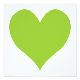 Apple Green Cute Heart Shape 13 Cm X 13 Cm Square Invitation Card