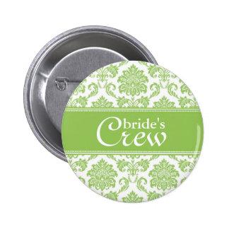 Apple Green Damask Bride's Crew Button