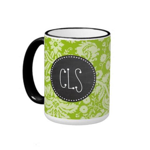 Apple Green Damask Pattern; Chalkboard Coffee Mugs