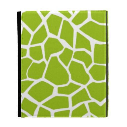 Apple Green Giraffe Animal Print iPad Folio Covers