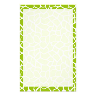 Apple Green Giraffe Animal Print Stationery