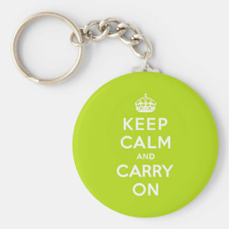Apple Green Keep Calm and Carry On Basic Round Button Key Ring
