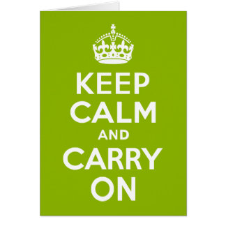 Apple Green Keep Calm and Carry On Greeting Card