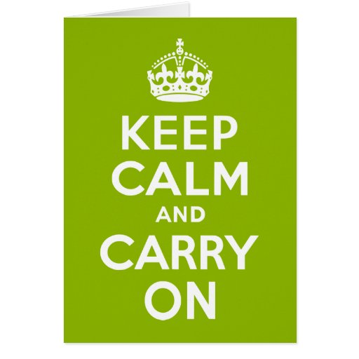 Apple Green Keep Calm and Carry On Cards