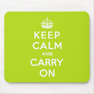 Apple Green Keep Calm and Carry On Mouse Mat