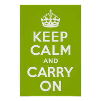 Apple Green Keep Calm and Carry On Poster