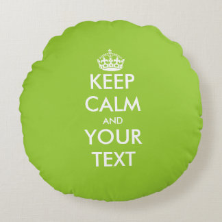 Apple green keep calm carry on round throw pillow