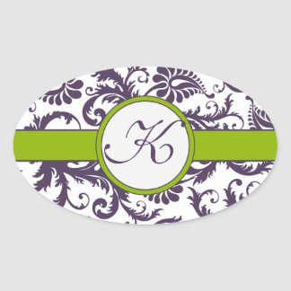 Apple Green & Lapis Purple Damask Wedding Stickers