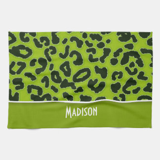 Apple Green Leopard Animal Print; Personalized Hand Towels