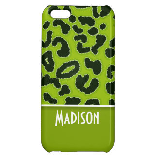 Apple Green Leopard Animal Print; Personalized iPhone 5C Cases