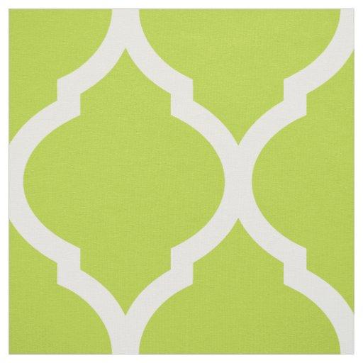 Apple Green Moroccan Quatrefoil Large Scale Fabric