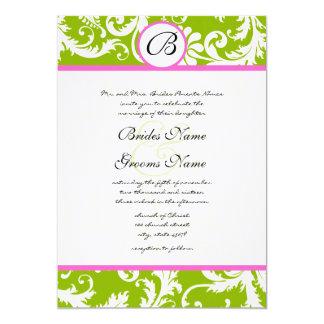 "Apple Green & Pink Damask Swirl Wedding Invitation 5"" X 7"" Invitation Card"