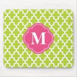 Apple Green & Pink Modern Moroccan Custom Monogram