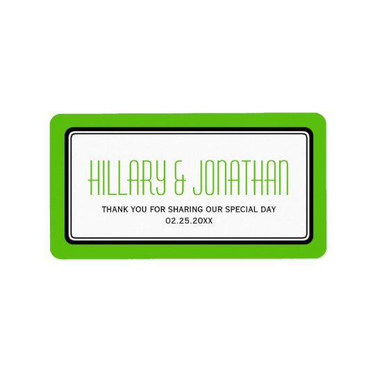 Apple green rectangular frame wedding favour label