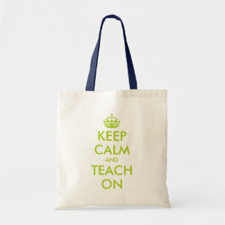 Apple green teacher tote bag | KeepCalm and teach