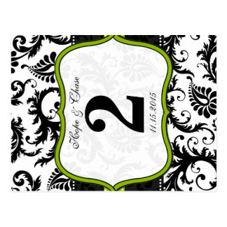 Apple Green Trim Damask Swirls Table Number Cards Postcards
