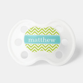 Apple Green & Turquoise Chevron & Monogram Dummy