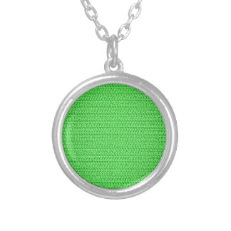 Apple Green Weave Mesh Look Round Pendant Necklace