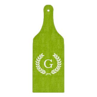 Apple Green Wheat Laurel Wreath Initial Monogram Cutting Board